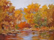 Autumn Painting Originals - Fall Reflections by Mohamed Hirji