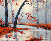 Fall Trees Posters - Fall River Painting Poster by Graham Gercken