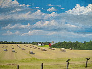 Hay Bales Paintings - Fall Rounds by Norm Starks