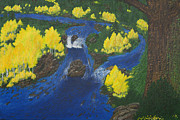 Salmon Paintings - Fall Salmon Run by L J Oakes