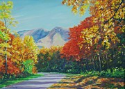 Autumn Leaves Pastels Framed Prints - Fall Scene - Mountain Drive Framed Print by John Clark