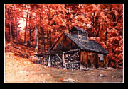Shed Painting Posters - Fall Shed Poster by Larry Garner