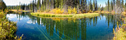Biotope Posters - Fall sky mirrored on calm clear taiga wetland pond Poster by Stephan Pietzko