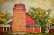 Silos Mixed Media Posters - Fall Spelender Poster by Todd and candice Dailey
