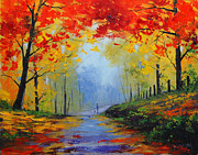Trees Paintings - Fall Stroll by Graham Gercken