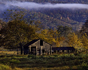 Boxley Valley Prints - Fall Sunrise Old Barn at 21/43 Intersection Print by Michael Dougherty