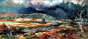 Bank; Clouds; Hills  Prints - Fall thunderstorm approaching Print by Mikhail Savchenko