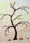 Lone Tree Drawings Framed Prints - Fall Tree Framed Print by Patricia Alexander