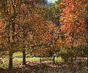 Pointillist Digital Art Metal Prints - Fall Trees Metal Print by Nicholas Burningham
