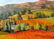 Autumn Vineyards Paintings - Fall Vines by Char Wood