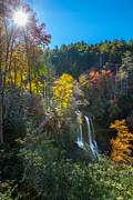 Downtown Franklin Posters - Fall Waterfall Poster by Donna Vasquez