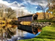 Covered Bridge Digital Art Prints - Fallasburg Bridge in Fall Print by Michelle Calkins