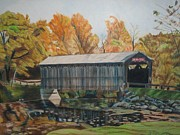Covered Bridge Drawings Metal Prints - Fallasburg Covered Bridge Metal Print by Matthew Handy