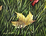 Red Fallen Leave Painting Prints - Fallen from Grace Print by Shana Rowe