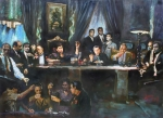 The Mixed Media Prints - Fallen Last Supper Bad Guys Print by Ylli Haruni