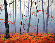 Trees Paintings - Fallen leaves by Graham Gercken