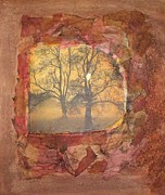 Collage Mixed Media Framed Prints - Fallen Leaves Framed Print by Leslie Jennings