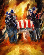 Police Officer Painting Metal Prints - Fallen Officer Metal Print by Christopher Lane