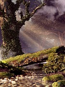 Fangorn Forest Prints - Fallen Tree Bridge Print by Daniel Eskridge