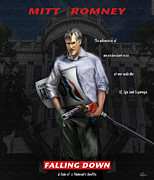 White House Painting Posters - Falling Down Poster by Reggie Duffie