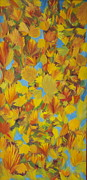 Colors Of Autumn Painting Posters - Falling Leaves Poster by DeeAnn Veeder
