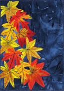 Autumn Art Tapestries - Textiles Posters - Falling Leaves Poster by Jean Baardsen