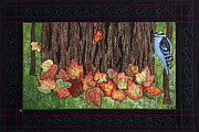 Textile Art Tapestries - Textiles Framed Prints - Falling Leaves Framed Print by Patty Caldwell