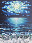 Sea Moon Full Moon Painting Metal Prints - Falling Off the Edge Metal Print by Cheryl Pettigrew