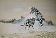 Zebra Paintings - Falling Out by Andy Davis