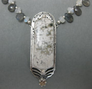 Ocean Jasper Jewelry - Falling Snow Necklace  by Brenda Berdnik
