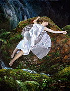 Nightgown Paintings - Falling by Tim Davis