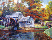 Grist Mill Paintings - Falling Water Mill House by  David Lloyd Glover