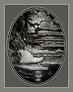 Sea Moon Full Moon Drawings Framed Prints - Falling Water Framed Print by Ronald Chambers
