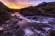 Swiftcurrent Falls Posters - Falls at first light Poster by Mark Kiver