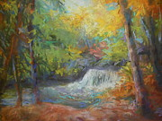 Waterscape Painting Prints - Falls fall Print by Susan Bracken Gilday