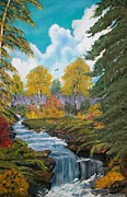 Metal Trees Originals - Falls in Fall  by Sharon Duguay