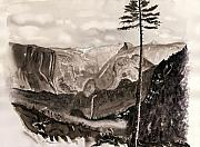 El Capitan Painting Prints - Falls of the Yosemite Painting Print by Warren Thompson