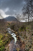 Buachaille Etive Mor Framed Prints - Falls on the River Coupall Framed Print by Gary Eason