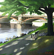 Charles River Painting Posters - Falltime Solitude Poster by JJ Long