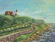 Posters From Painting Framed Prints - Falmouth Road Race Framed Print by Rita Brown