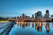 Cambie Bridge Prints - False Creek at night Print by Michelle Lee