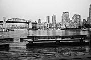 Rainy Day Photos - False Creek burrard street bridge and waterfront apartment buildings on a wet overcast day Vancouver by Joe Fox