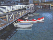 Canoe Pastels Posters - False Creek Ferry Landing Poster by Brenda Salamone