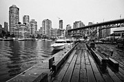 Rainy Day Photos - False Creek granville street bridge and waterfront apartment buildings on a wet overcast day Vancouv by Joe Fox