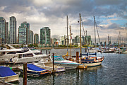 Boats On Water Posters - False Creek Poster by Theresa Tahara