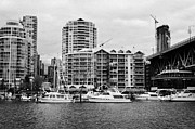 False Creek Prints - False Creek Yacht Club and waterfront apartment buildings Vancouver BC Canada Print by Joe Fox