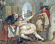Debt Framed Prints - Falstaff Bardolph and Dame Quickly Framed Print by Francis Phillip Stephanoff