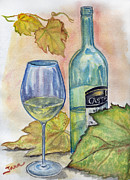 White Grape Painting Prints - Famille Castel Print by Jana Goode
