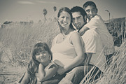 Black And White Portraits Prints - Family Beach Day Print by Laurie Search