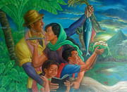 Bonding Painting Originals - Family Bonding In Bicol by Manuel Cadag